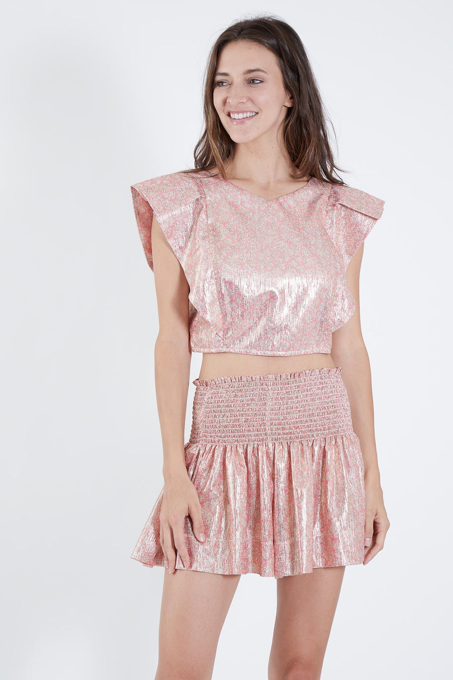 CECILIA TOP PINK METALLIC
