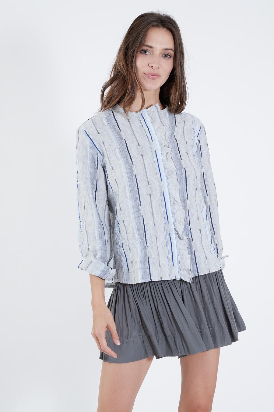 WILLOW TOP PUCKER BLUE STRIPE