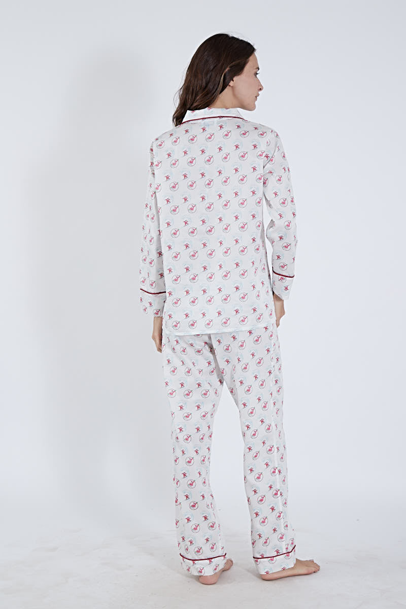 LONG PAJAMA SET SANTA PRINT