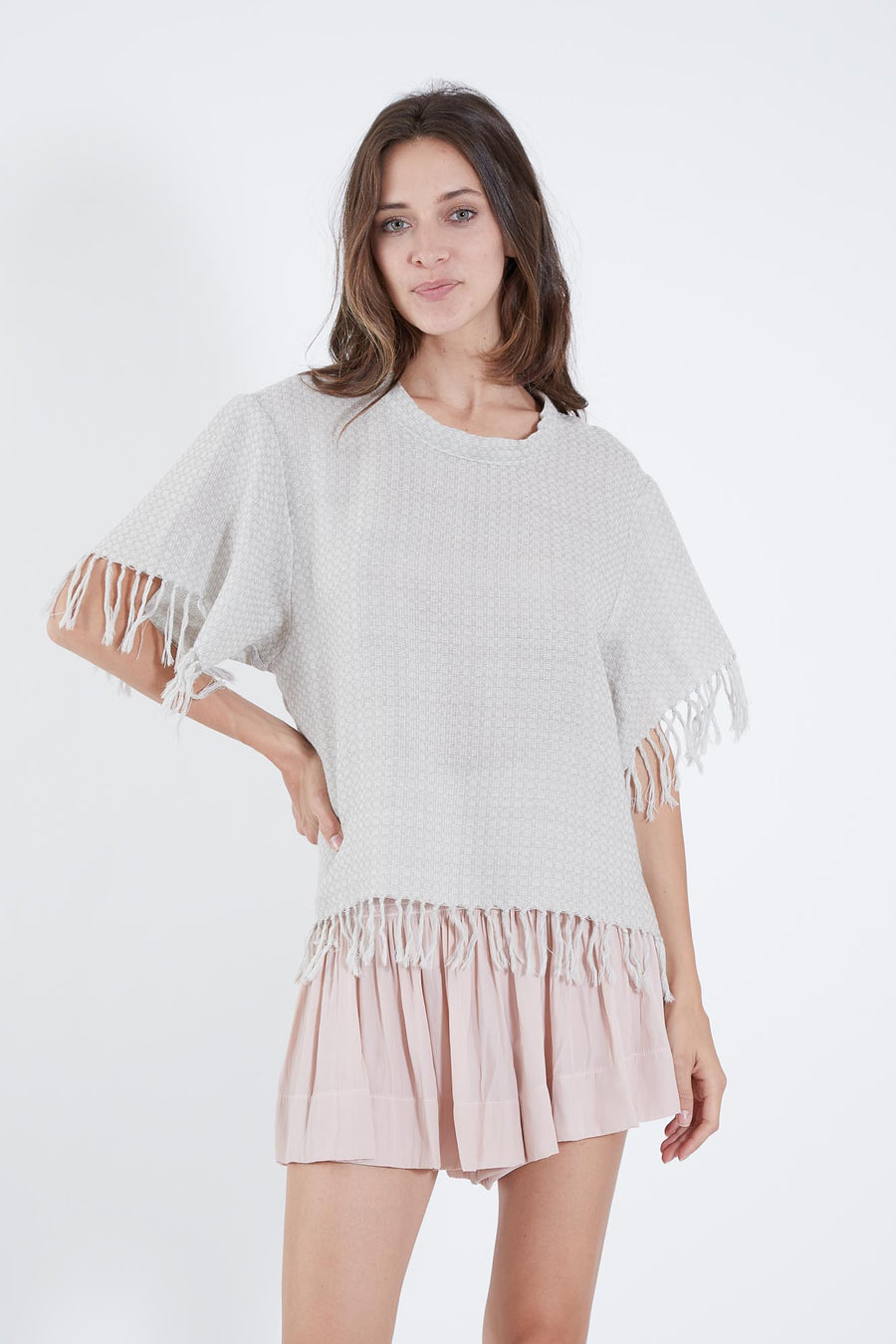 AUDREY TOP SILVER CHECK