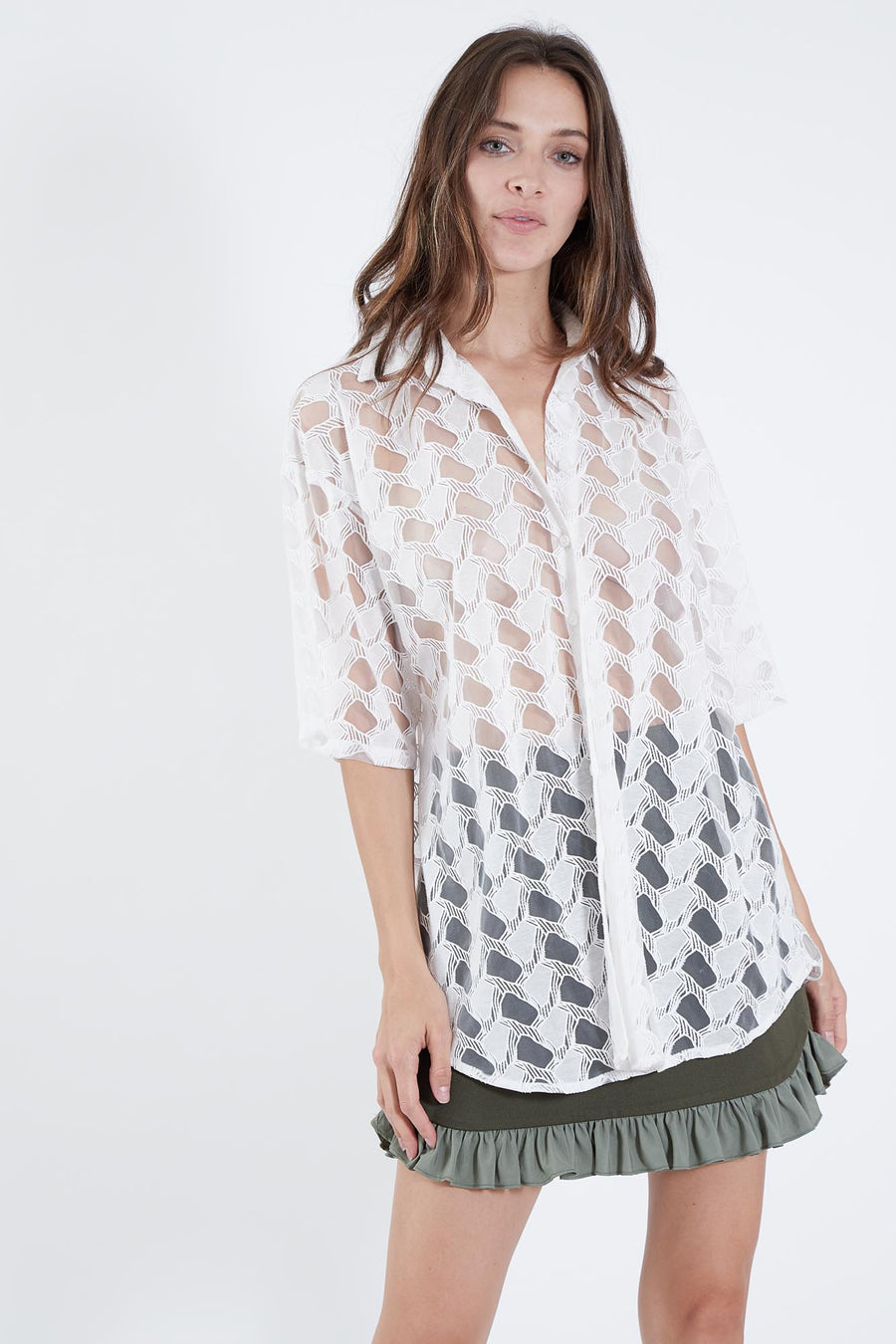 CLEMENTINE TOP WHITE LATTICE