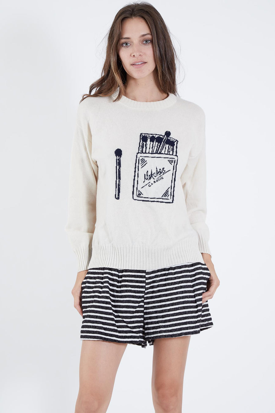 TREVI SWEATER IVORY W/ NAVY MATCHES