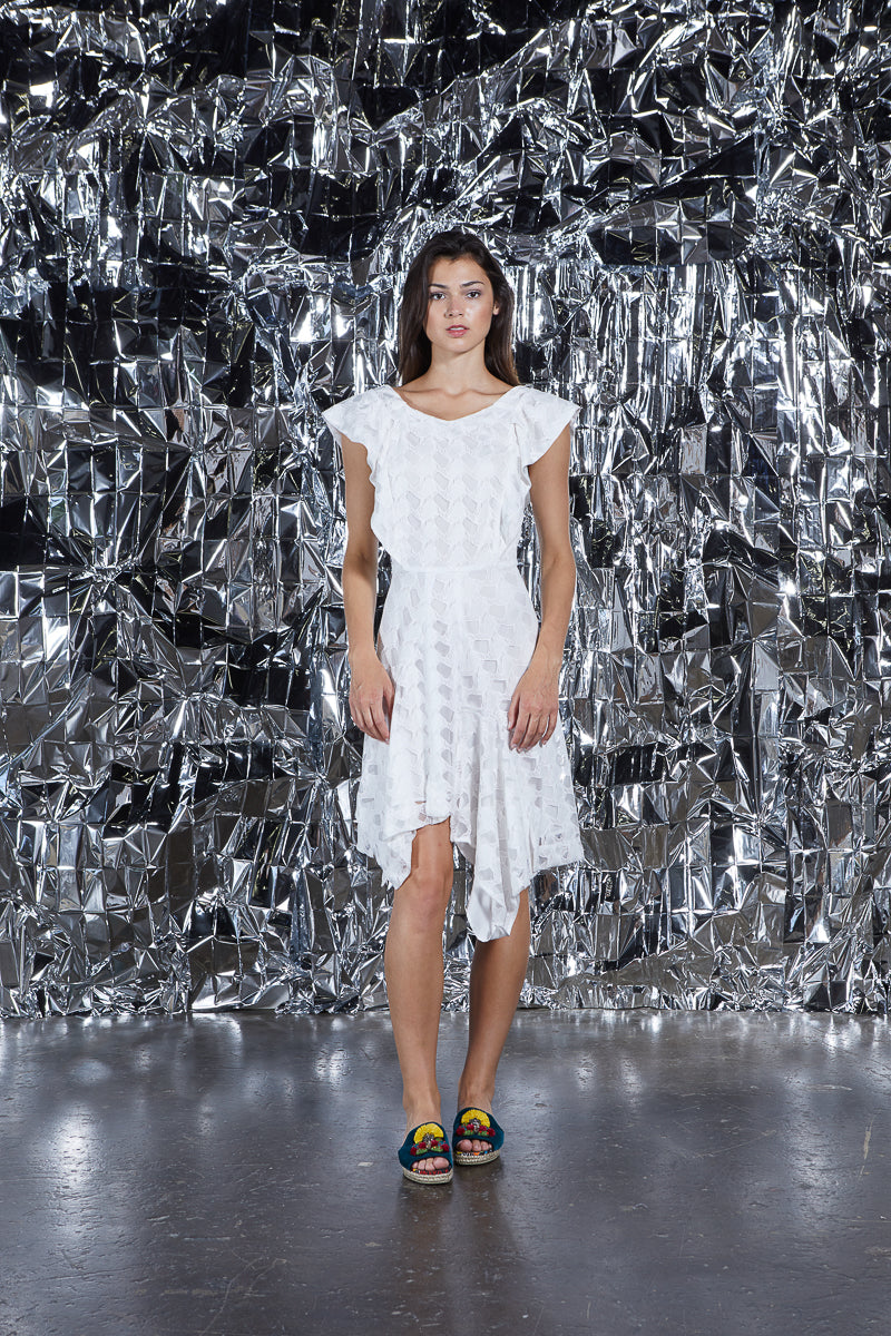 INGRID DRESS WHITE LATTICE