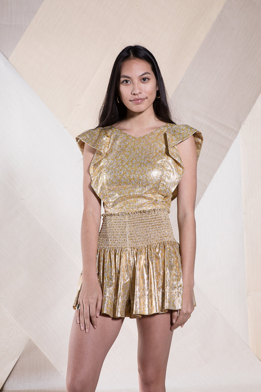 CECILIA TOP GOLD METALLIC