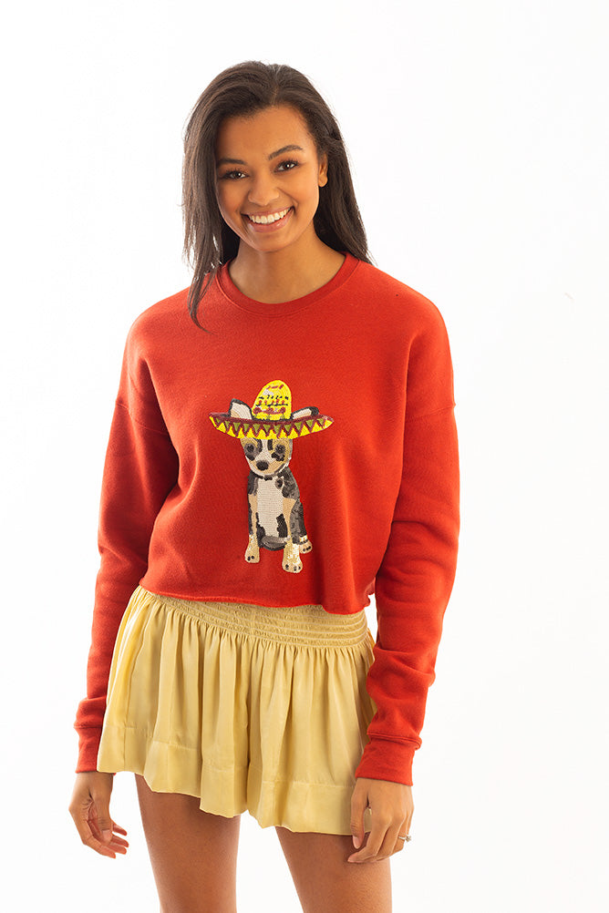 CROPPED SWEATSHIRT WITH CHIHUAHUA