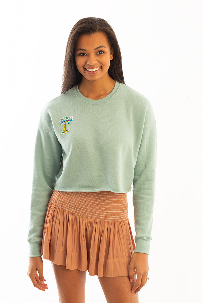 CROPPED SWEATSHIRT W/ PALM TREE *LIMITED*EDITION*