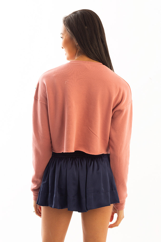 CROPPED SWEATSHIRT PINK W/ NEON TRIM