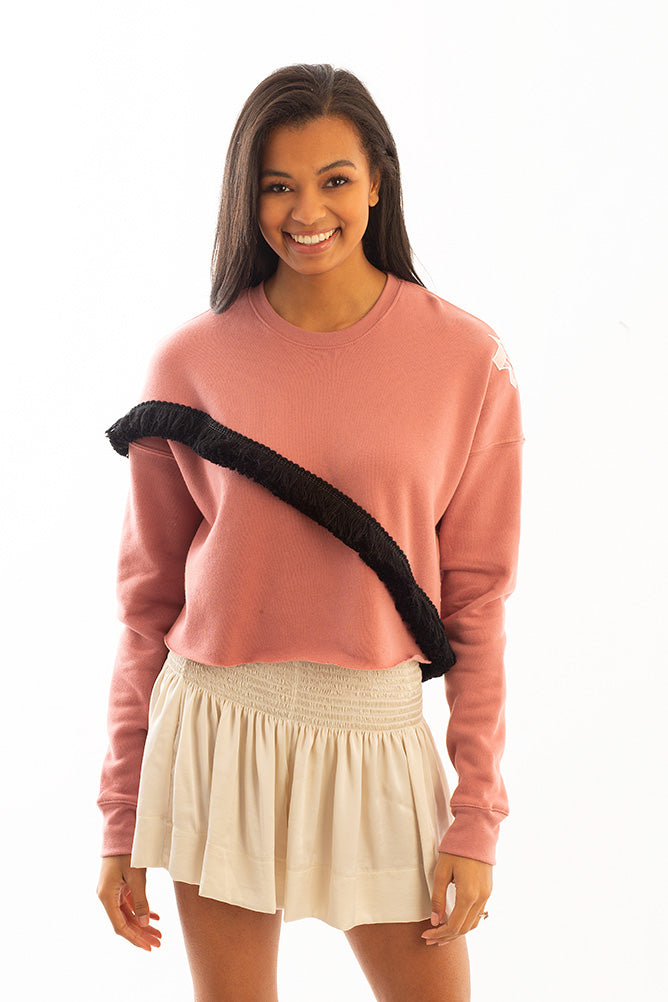 CROPPED SWEATSHIRT PINK W/ CROSS TRIM *LIMITED*EDITION*