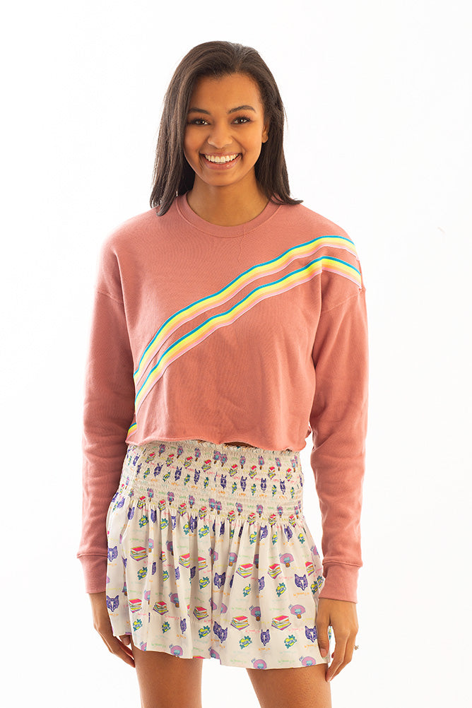 CROPPED SWEATSHIRT W/ CROSS RAINBOW