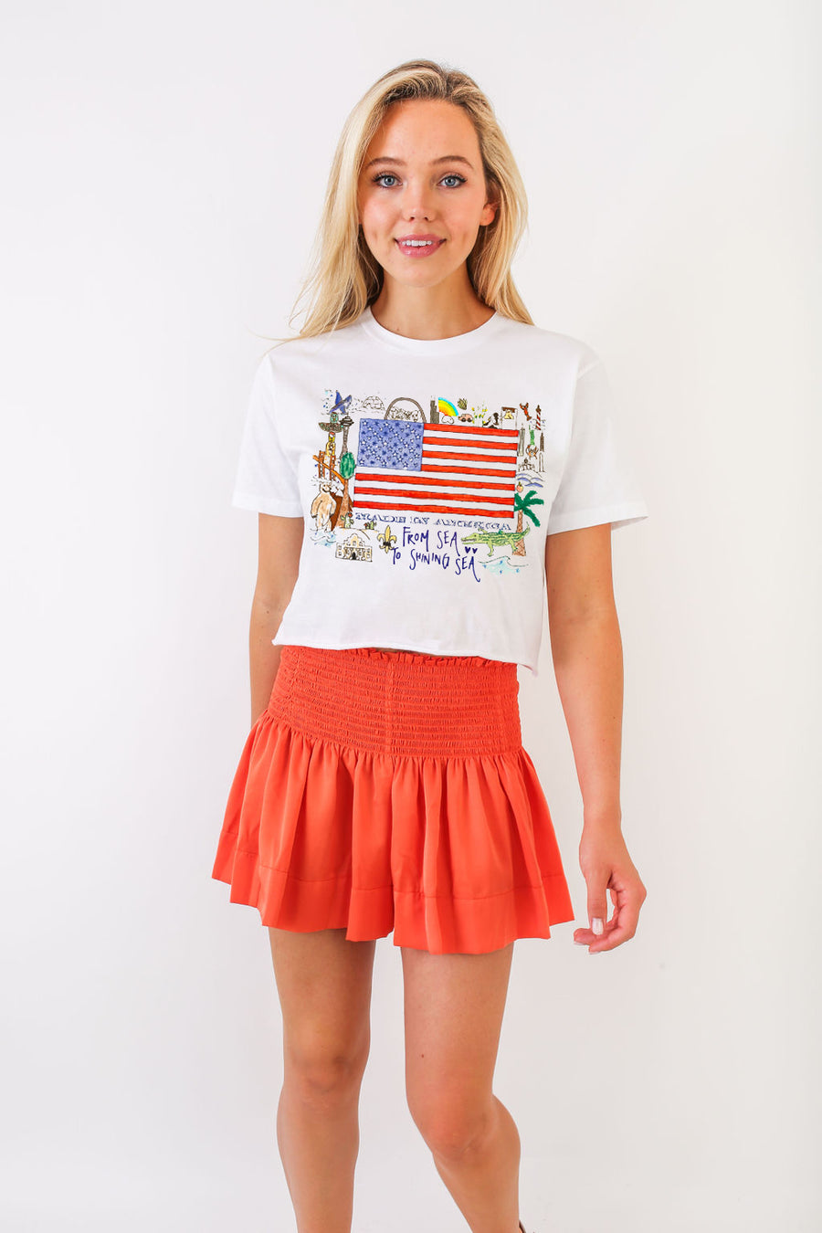 WHITNEY CROP FLAG TEE