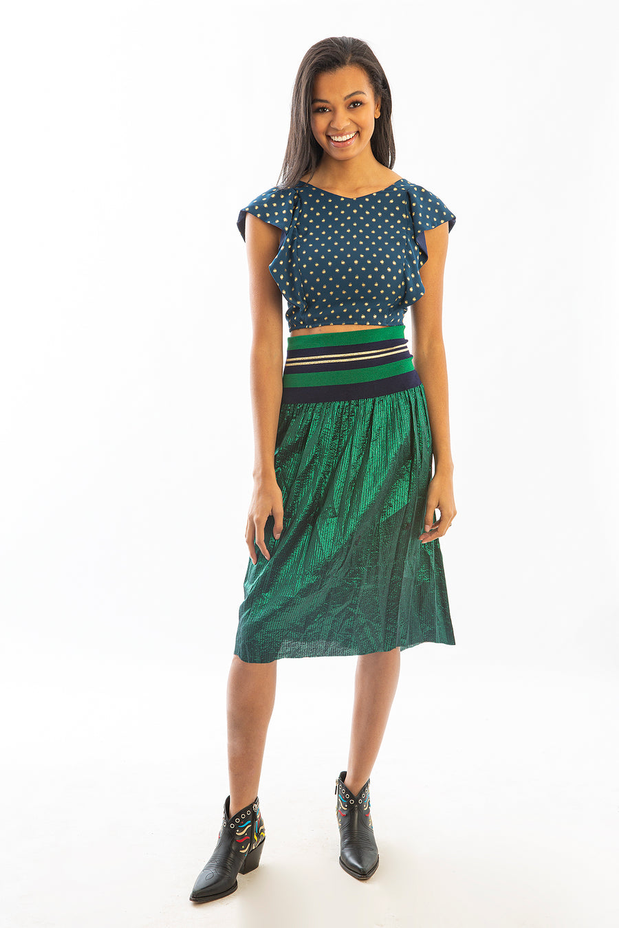 CARLISLE SKIRT GREEN METALLIC