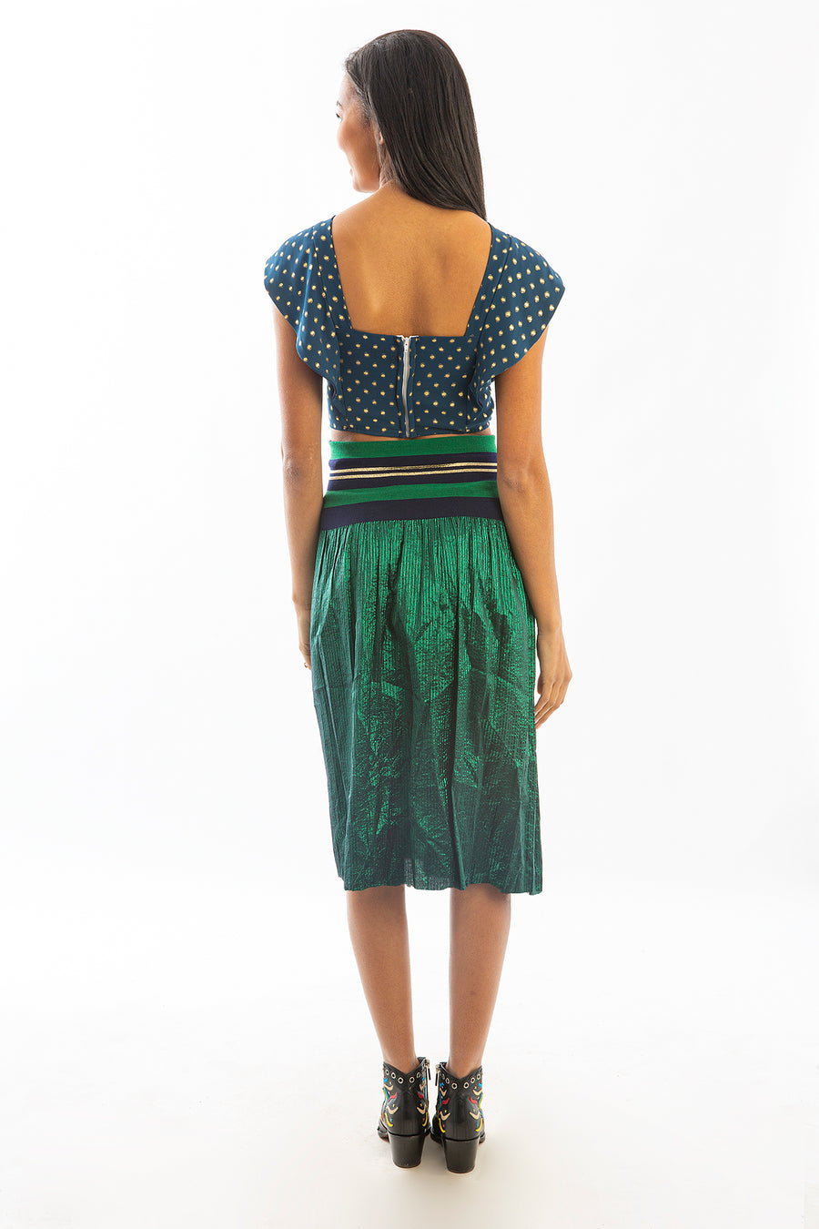 CARLISLE SKIRT GREEN METALLIC *LIMITED*EDITION*