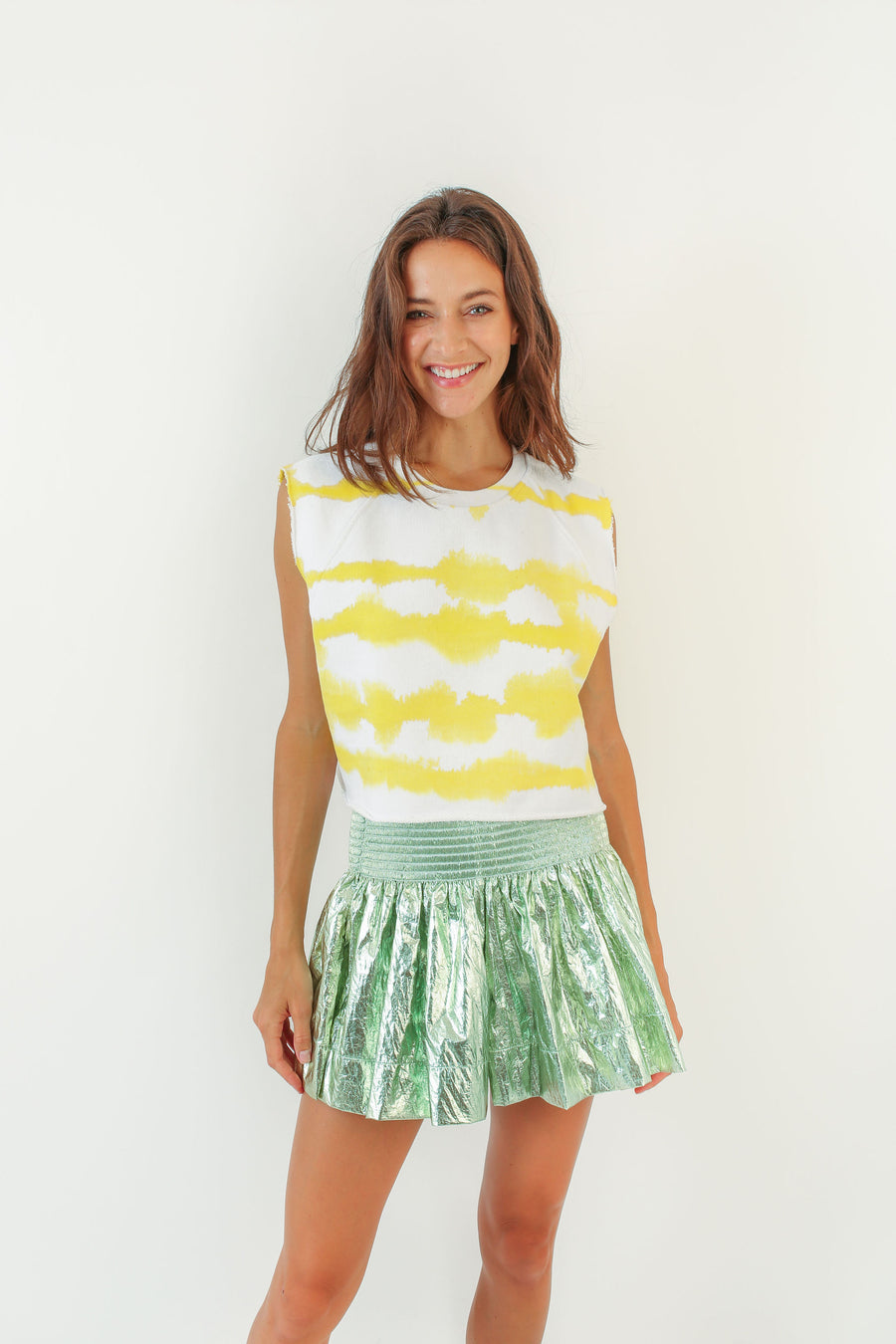 CALI CROP SWEATSHIRT LEMON TIE DYE *LIMITED*EDITION*