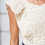 CECILIA TOP STRIPE QUILTING