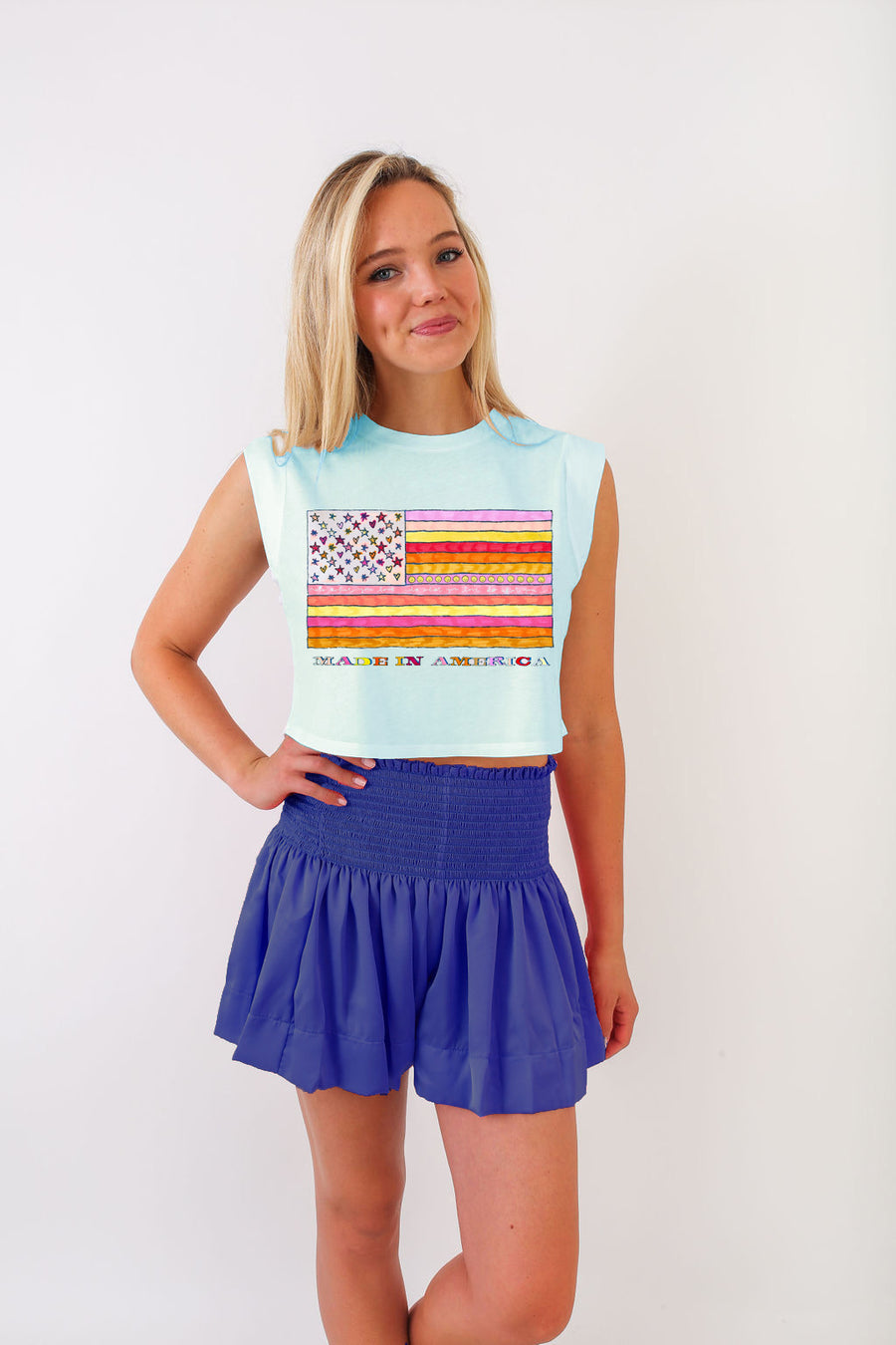 MADDIE ORANGE CROP FLAG TEE