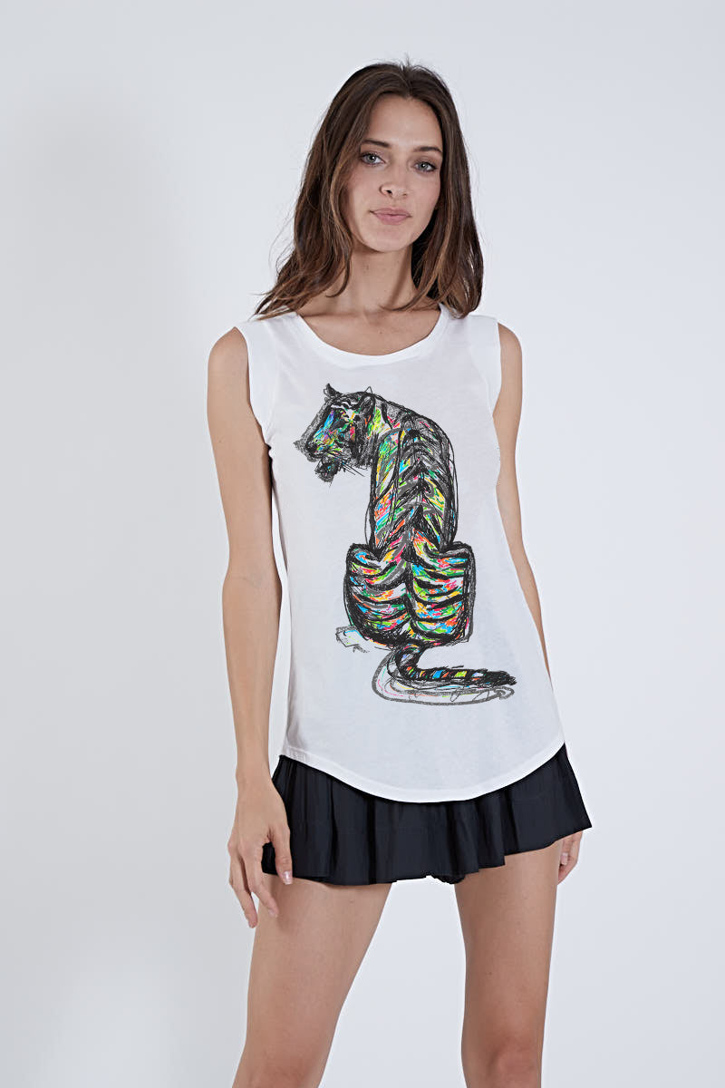 MARIE TEE WHITE W/ TIGER