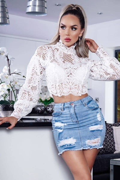 Crochet Lace Puff Sleeve Top - RODORA