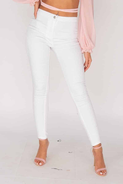 High Waisted White Jeggings - RODORA