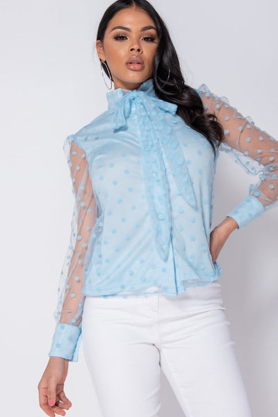 Polka Dot Sheer Sleeve Blouse - RODORA