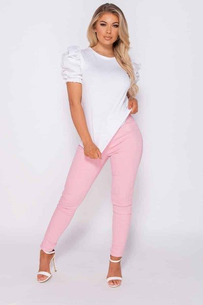 White Puffed Sleeve Top - RODORA