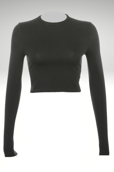 Solid Basic Long Sleeve Crop Top - RODORA