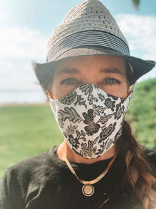 Face Mask in Gray Nature with Ties on Adult Woman Face
