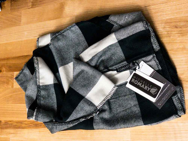 Black and Winter White Buffalo Check Plaid Infinity Scarf with Serged Edges