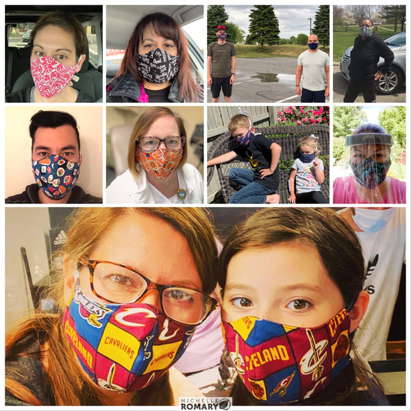 Cotton Face Masks, Fitted Style, 2-Layer with internal filter space or 3-Layer with dedicated filter pocket, Ties or Ear Loops, Many Fabrics