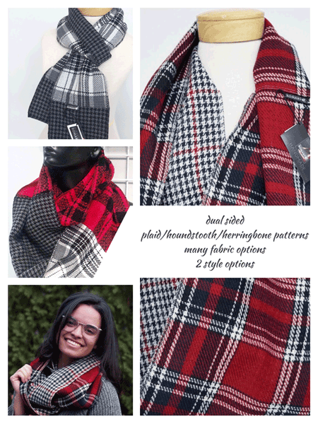Dual Sided Plaid Scarf - Many Fabric and Style Options!