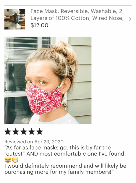 5 Star Review of Cotton Face Mask with Ties