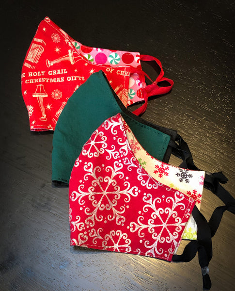 2-Layer Reversible Cotton Face Mask with Adjustable Ear Loops in Christmas and Winter Themed Fabrics