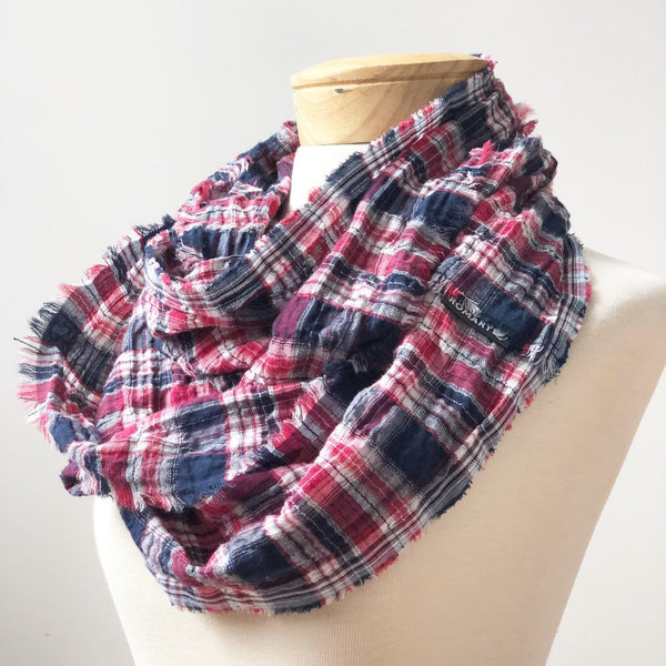 Navy Blue, Red, White Plaid Scarf shown in Infinity Style with Hand Frayed Edges