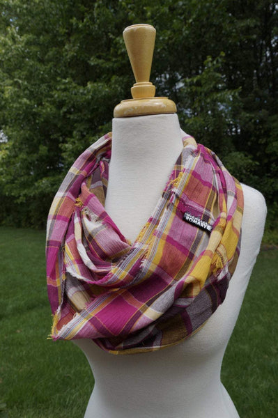 Pink, Yellow, Brown, White Plaid Scarf shown in Infinity Style with Hand Frayed Edges