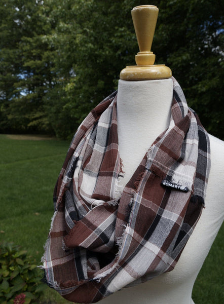 Brown, Black, White Plaid Scarf shown in Infinity Style with Hand Frayed Edges