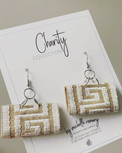 Greek Key Fabric Earrings, Multiple Fabric Color Options, Charity Collection Dangle Earrings, Silver or Gold Tone Wires w/French Wire Keeper