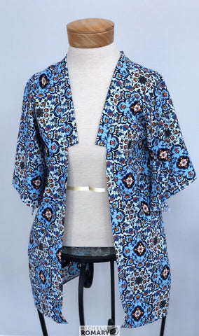 Boho Chic Kimono Style Cardigan, Blue Floral Semi-Sheer Chiffon, Structured Collar, No-Close Front, Oversized Triangle Sleeve, Beach Coverup
