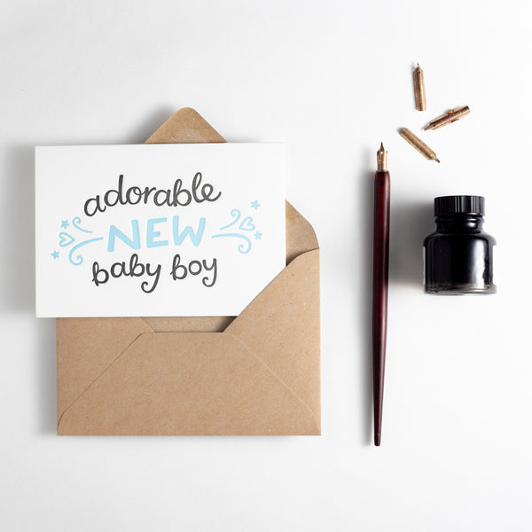 Adorable New Baby Boy Letterpress Card