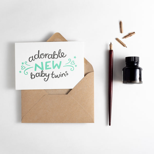 Adorable New Baby Twins Letterpress Card