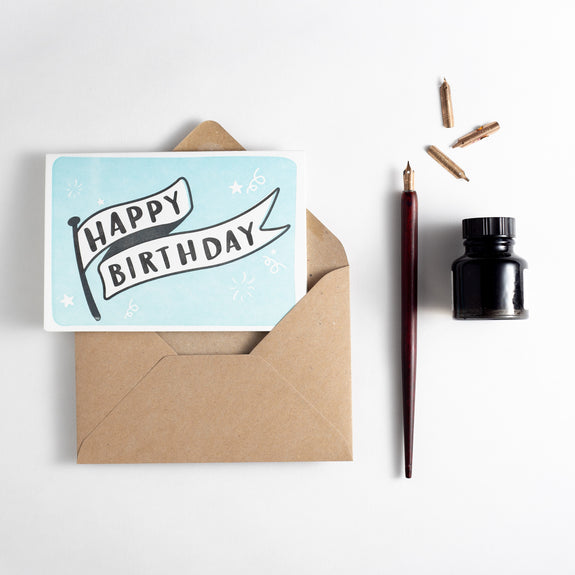 Birthday Banner Letterpress Card