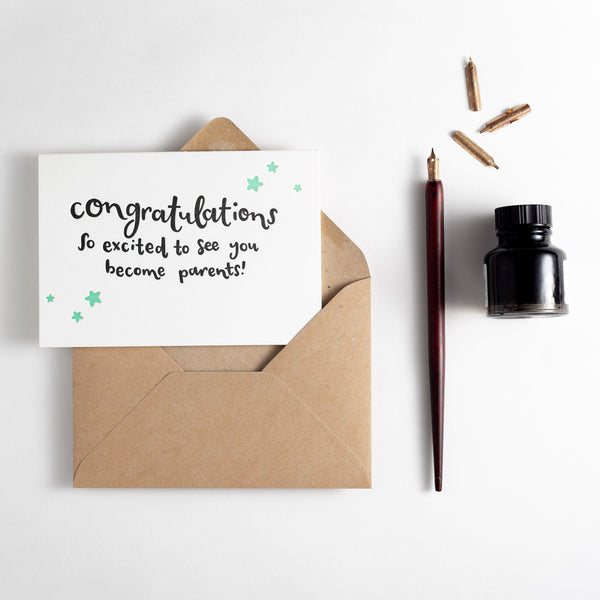 Congratulations Excited To See You Become Parents Letterpress Card