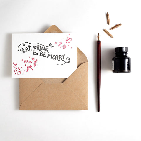 Eat, Drink & Be Merry Letterpress Christmas Card