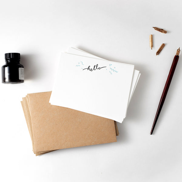 Hello Set of 10 Letterpress Note Cards