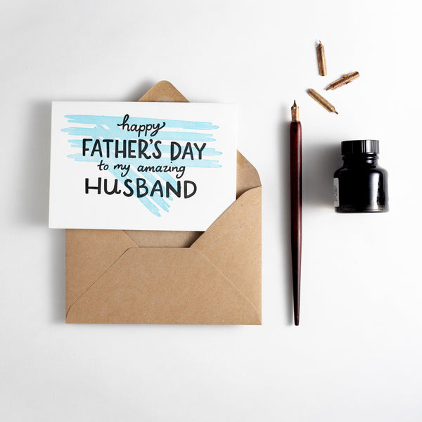 Husband On Father's Day Letterpress Card