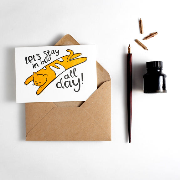 Let's Stay In Bed All Day Letterpress Card