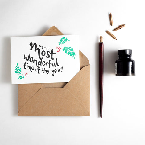 Most Wonderful Time of the Year Letterpress Christmas Card