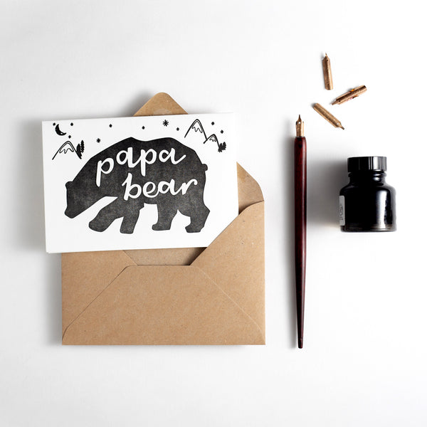 Papa Bear Letterpress Card