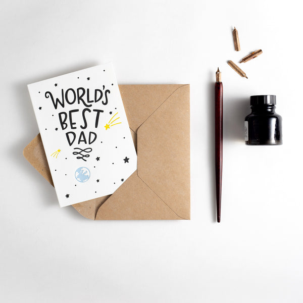 World's Best Dad Letterpress Card