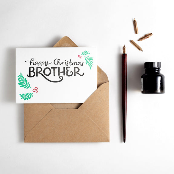 Happy Christmas Brother Letterpress Card