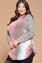 Load image into Gallery viewer, Plus Size French Terry Tie Dye Casual Color Block Top