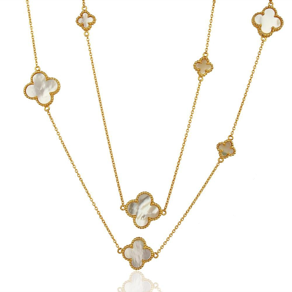Quatrefoil Chain: Faith:Hope:Love:Luck, Mother Of Pearl (Pure Silver 22k Gold vermeil)